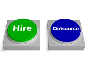 Hire Outsource Button Shows Hiring Or Outsourcing