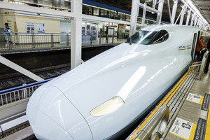HIROSHIMA, JAPAN - NOVEMBER 13: Shinkansen in hiroshima, Japan on November 13, 2014.