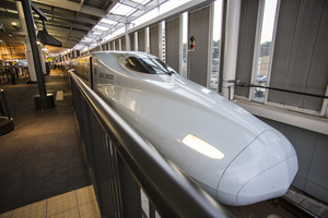 HIROSHIMA, JAPAN - OCTOBER 26: Shinkansen in hiroshima, Japan on October 26, 2013.
