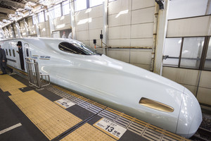 HIROSHIMA, JAPAN - OCTOBER 28: Shinkansen in hiroshima, Japan on October 28, 2013.