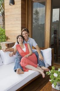 Hispanic couple on patio