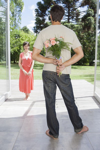 Hispanic couple with flowers