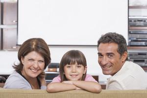 Hispanic family in living room