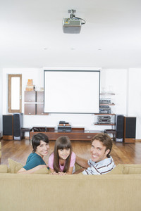 Hispanic family in living room