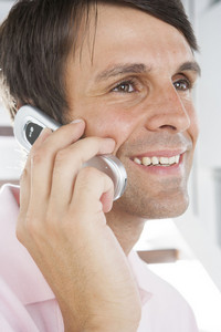 Hispanic man on phone