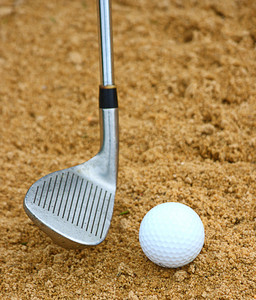 Hitting A Golf Ball Out Of A Bunker
