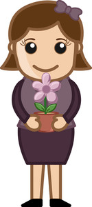 Holding A Flower Pot In Hands - Vector