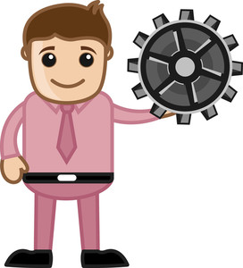 Holding A Gear - Vector Character Cartoon Illustration