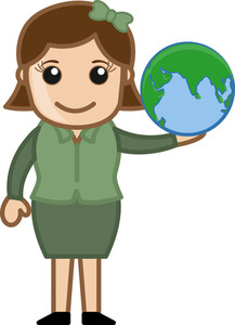 Holding A Globe - Business Cartoons Vectors