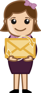 Holding An Envelope - E-mail Concept - Vector Illustration