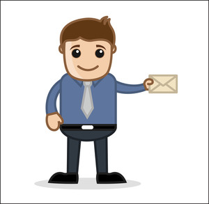 Holding An Envelope - Office And Business Cartoon Character Vector Illustration Concept & Pose