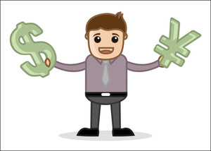 Holding Currency Symbol - Office And Business People Cartoon Character Vector Illustration Concept