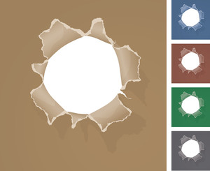 Hole In The Paper. Vector.