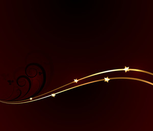 Holiday Graphic Floral Golden Stars Background
