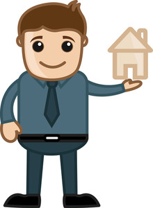 Home Dream Concept - Vector Character Cartoon Illustration