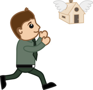 Home Flying Away - Mortgage Loan Concept - Vector Character Cartoon Illustration