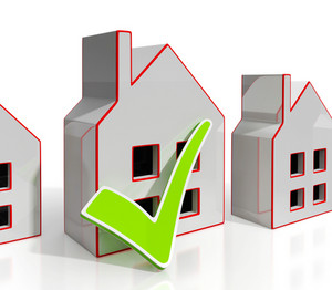 Home Icons With Tick Shows House For Sale