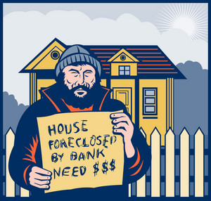 Homeless Man Or Hobo Sign Foreclosed House