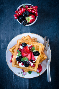 Homemade Waffles And Ice Cream