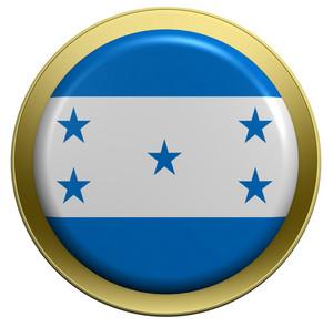 Honduras Flag On The Round Button Isolated On White.