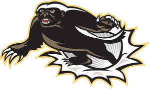 Honey Badger Mascot Jumping