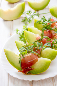 Honeydew Melon With Prosciutto And Arugula