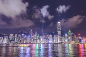 Hong Kong, China skyline from across Victoria Harbor.