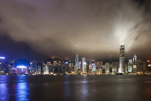 Hong Kong city night with cloud