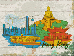 Hong Kong Doodles With Grunge Background Vector Illustration