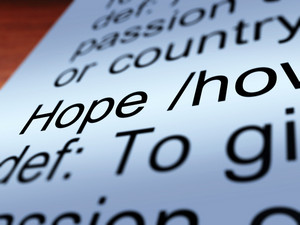 Hope Definition Closeup Showing Wishes