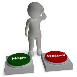 Hope Despair Buttons Shows Hopeful Or Desperation
