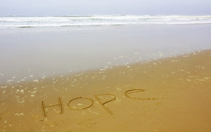 Hope Writing On Beach