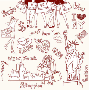 Hopping In New York Doodles