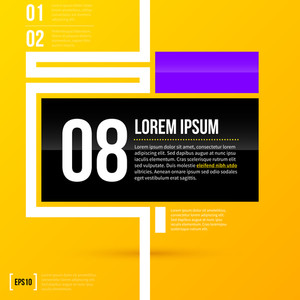 Horizontal Text Layout With Minimalistic Elements On Bright Yellow Background. Eps10