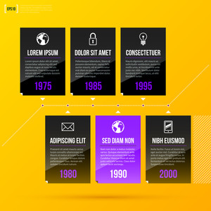 Horizontal Timeline Template On Bright Yellow Background. Eps10