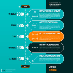 Horizontal Vector Timeline Template On Turquoise Background. Eps10