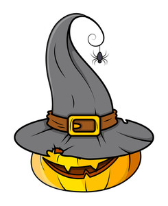 Horrible Spooky Pumpkin - Halloween Vector Illustration