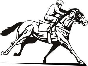 Horse And Jockey Racing Retro