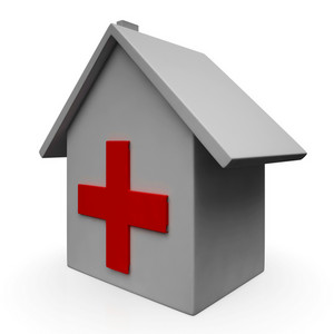 Hospital Icon Shows Emergency Medical Clinic