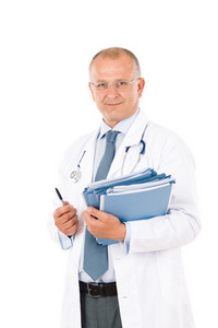Hospital professional doctor male with stethoscope and folders isolated