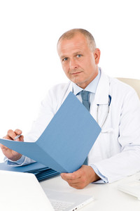 Hospital professional doctor male with stethoscope hold document isolated