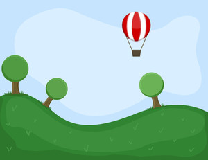 Hot Air Balloon - Cartoon Background Vector