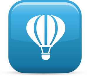 Hot Air Balloon Elements Glossy Icon