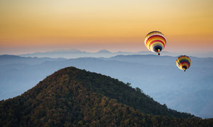 Hot air balloon on the mountain north of Thailand winter season