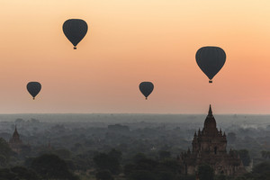 Hot air balloon over landscape of Bagan, Myanmar.