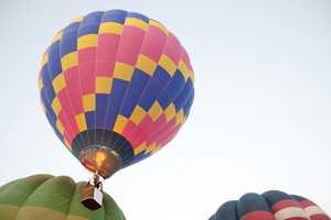 hot air balloon take off on the sky at morning