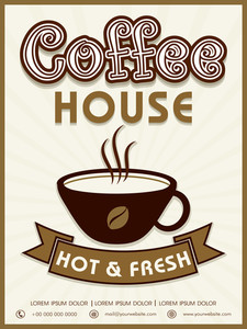 Hot and Fresh Coffee House menu card design on vintage background.