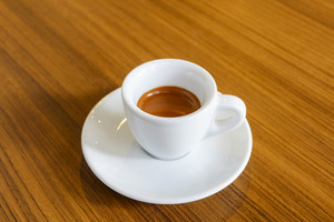 Hot coffee for morning working life on wood table