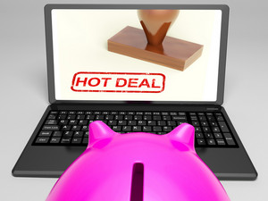 Hot Deal Stamp On Laptop Shows Special Deal