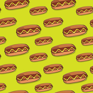 Hot Dog Seamless Texture. Vector